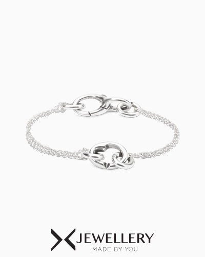 Petite chain heart within bracelet